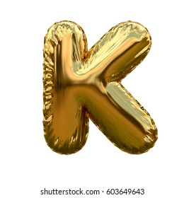 Letter K metallic blue shiny foil party celebration balloon a plain white background. 3D rendering