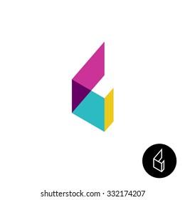 Letter L 3D transparent ribbon flat style logo