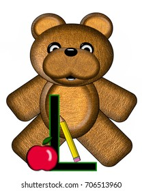 """The letter L, in the alphabet set """"Bear Alphabet Lesson"""" is decorated with a pencil and apple.  Brown bear fills in background."""