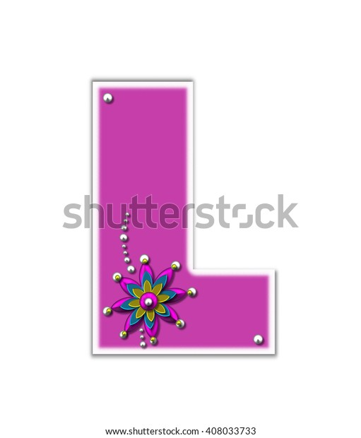 Letter L Alphabet Set Metallica Pink Stock Illustration
