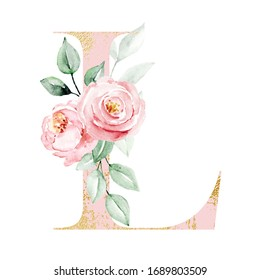 Letter L decorated watercolor painting flowers and leaf. Floral pink and gold monogram initials perfectly for wedding invitations, greeting card, logo, poster and other design. Holiday design.