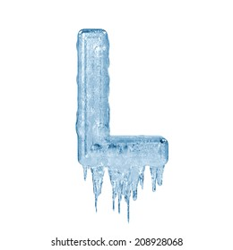Letter L. Ice font isolated on white background. Alphabet.