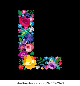 """The letter """"L"""" made of flowers on a black background. The letter of the English alphabet. Bright floral print. Great for T-shirts, cards and more."""