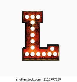 Letter L. Realistic Rusty Light Bulb Font in Metal Frame. 3d Rendering Illustration isolated on White Background.