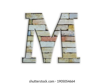 Letter M, brick structure, alphabet, font, architecture pattern, cement  stone material texture, isolated on white, design element , 3d typographic