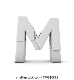 Letter M, Broken cracked font. 3D Rendering