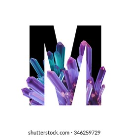 Letter M. Crystals alphabet. Color crystals of natural gemstone amethyst on a white background.