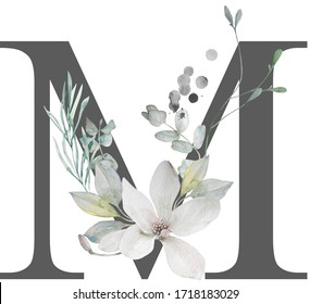 """The letter """"M"""" of the English alphabet is decorated with isolated watercolor elements (magnolia flowers, eucalyptus leaves, twigs). Ideal for wedding invitations, special occasions, logos, branding."""