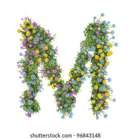 Letter M Flower Alphabet Isolated On White