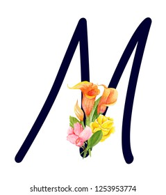Letter M with hand drawn watercolor bouquet of flowers isolated on white background. Design element for invitations, tattoo, monogram, cypher