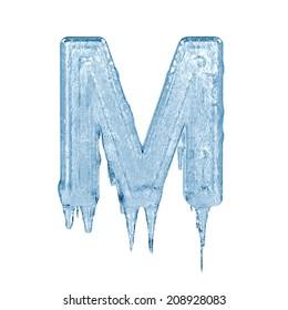 Letter M. Ice font isolated on white background. Alphabet.