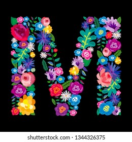 """The letter """"M"""" made of flowers on a black background. The letter of the English alphabet. Bright floral print. Great for T-shirts, cards and more."""
