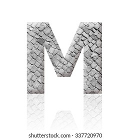 Letter M with stone texture