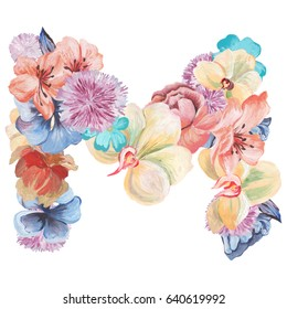 Letter M of watercolor flowers, isolated hand drawn on a white background, wedding design, english alphabet.