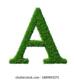 Letter A made of green grass isolated on white Background 3D-Illustration - Part of a series