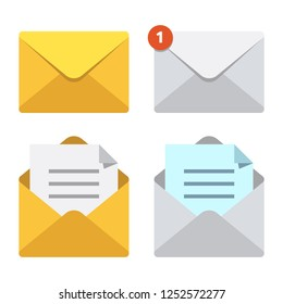 Letter in mail envelope. Mailbox notification or email message icons receiving mms closed post letter correspondence paper delivery. Open or closed letters postal envelopes  isolated symbol set