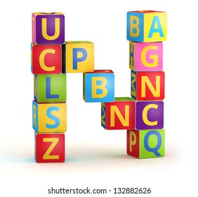 Letter N from ABC cubes for kid spell education