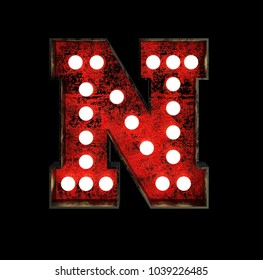 Letter N. Broadway Style Light Bulb Font made of rusty metal frame. 3d Rendering isolated on Black Background
