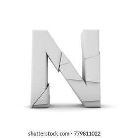 Letter N, Broken cracked font. 3D Rendering