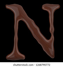 Letter N from chocolate droplets. Isolated on black background. 3d rendering.