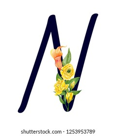 Letter N with hand drawn watercolor bouquet of flowers isolated on white background. Design element for invitations, tattoo, monogram, cypher