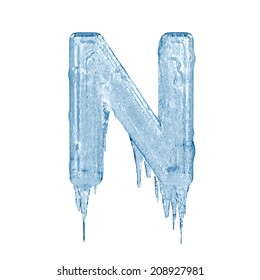 Letter N. Ice font isolated on white background. Alphabet.