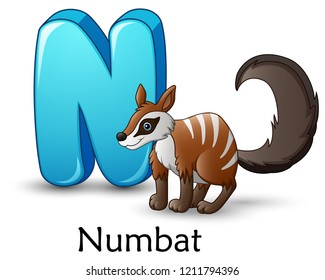Letter N is for Numbat cartoon alphabet