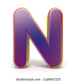 Letter N purple font yellow outlined 3D rendering illustration isolated on white background