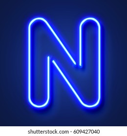Letter N realistic glowing blue neon letter against a blue background