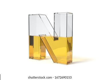 letter N shaped glass half filled with yellow liquid. suitable for fuel, oil, honey and any other liquid themes. 3d illustration