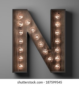 Letter N for sign with light bulbs