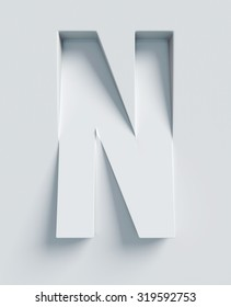 Letter N slanted 3d font engraved and extruded from the surface