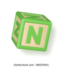 letter n wooden alphabet blocks font rotated 3d render illustration isolated on white background