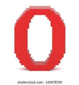 Letter O built from red toy bricks