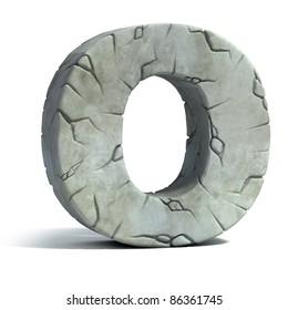 letter O cracked stone 3d font