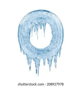 Letter O. Ice font isolated on white background. Alphabet.