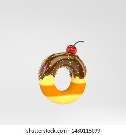 Letter O lowercase. Cake font with chocolate, sprinkles and cherry on top. 3d rendered alphabet type isolated on white background. Best for birthday party, celebration, anniversary.