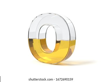 letter O shaped glass half filled with yellow liquid. suitable for fuel, oil, honey and any other liquid themes. 3d illustration