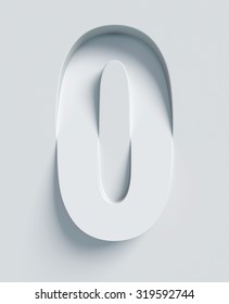 Letter O slanted 3d font engraved and extruded from the surface