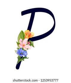 Letter P with hand drawn watercolor bouquet of flowers isolated on white background. Design element for invitations, tattoo, monogram, cypher