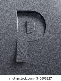 Letter P slanted 3d font engraved and extruded from the surface