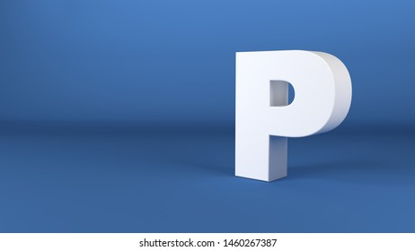 The Letter P in white on a blue background 3d render