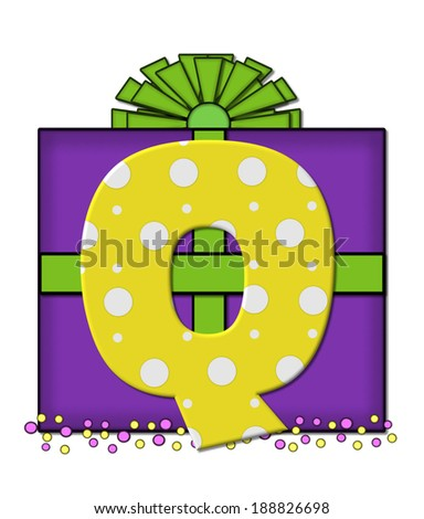the letter q in the alphabet set birthday box is yellow with white