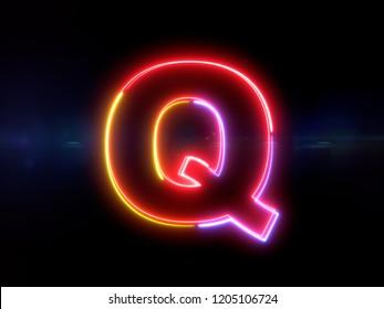 Letter Q - colorful glowing outline alphabet symbol on blue lens flare dark background