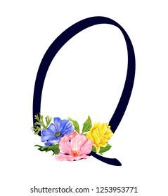 Letter Q with hand drawn watercolor bouquet of flowers isolated on white background. Design element for invitations, tattoo, monogram, cypher
