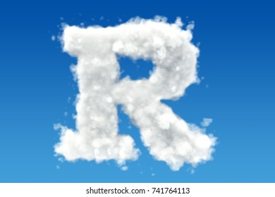 Letter R, alphabet from clouds in the sky. 3D rendering