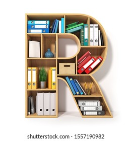 Letter R. Alphabet in the form of shelves with file folder, binders and books isolated on white. Archival, stacks of documents at the office or library. 3d illustration