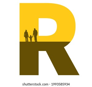 letter R of the alphabet made with a silhouette of a family, father, mother and child, in ocher and brown