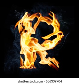 Letter R. Fire and smoke alphabet over black background