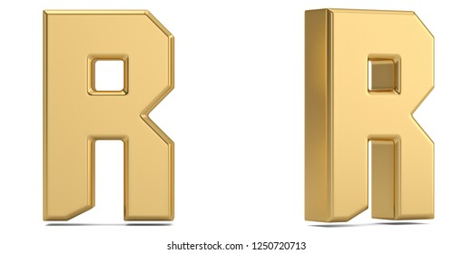 Letter r from gold solid alphabet isolated on white background. 3D illustration.
